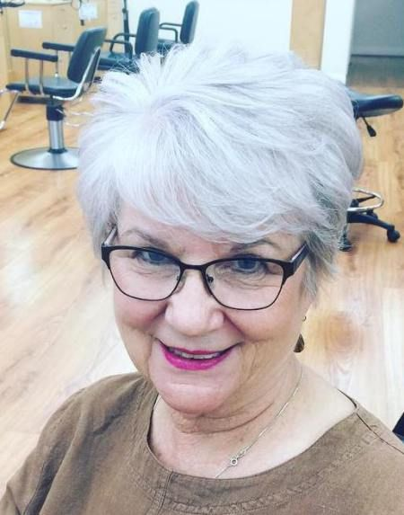 over 60 women with glasses and short edgy haircut