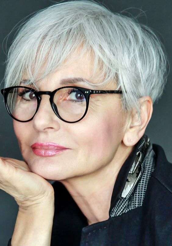 pretty pixie haircut for older women with glasses