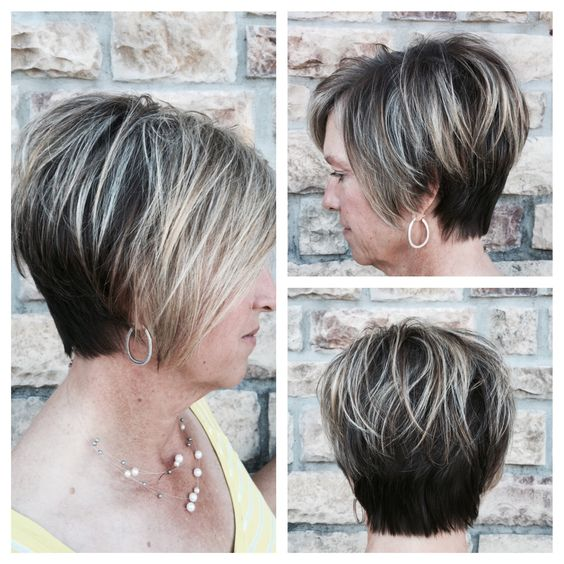 Pretty Short Angled Wedge Haircut For Women Over 60
