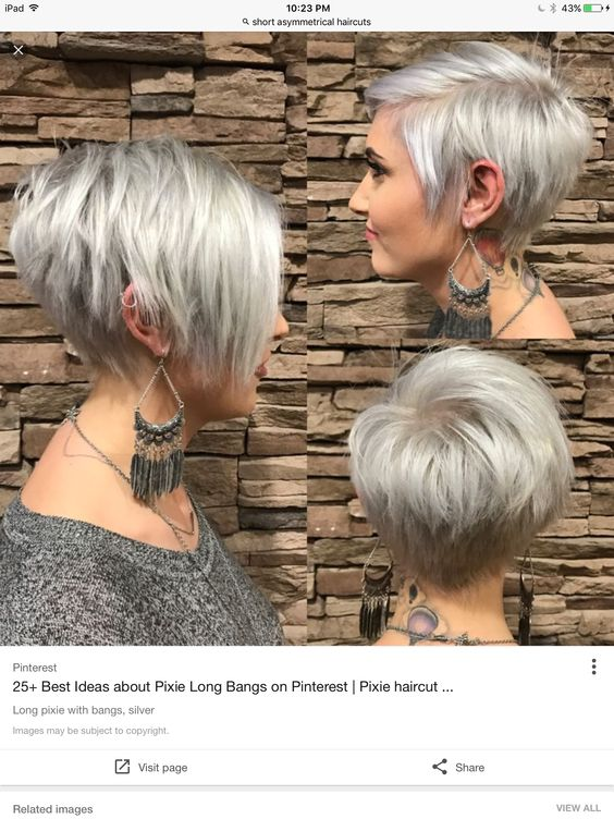 pretty short stacked haircut with long side bangs