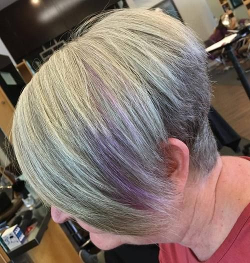 short angled wedge haircut for women over 60 with gray hair