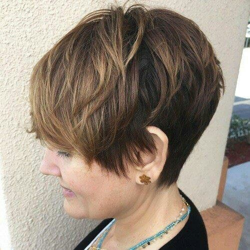 short angled wedge haircut for women over 60 with thick hair