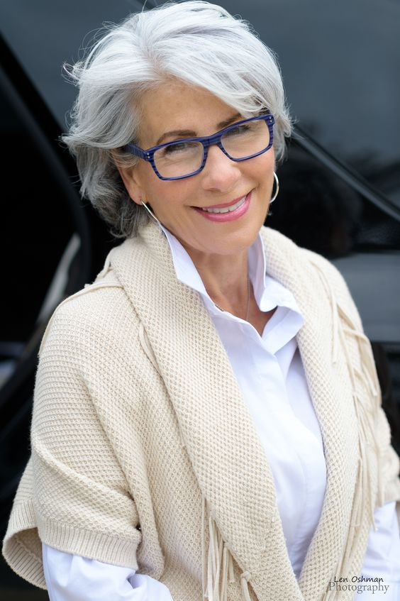 21 Short Hairstyles for Women with Grey Hair and Glasses (Updated 2021) short-haircut-with-bangs-for-over-60-women-with-glasses