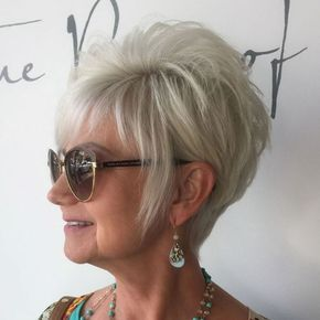 short layered edgy haircut for older women with glasses