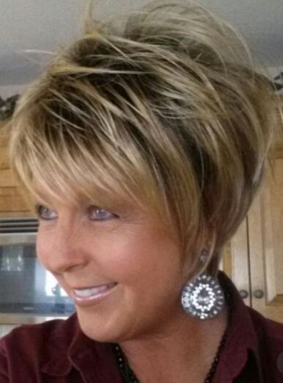 short layered wedge haircut for women over 60