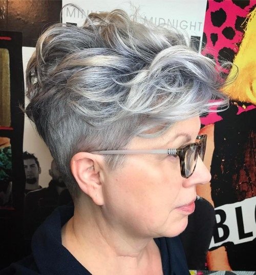 short messy curly haircut style for over 60 women with grey hair