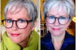 Short Pixie Hairstyle For Older Women With Grey Hair And Glasses