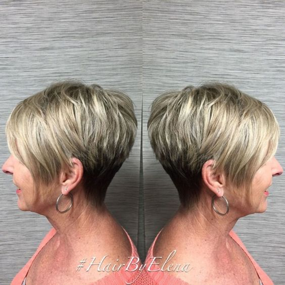 trendy and classic short wedge haircut for older women