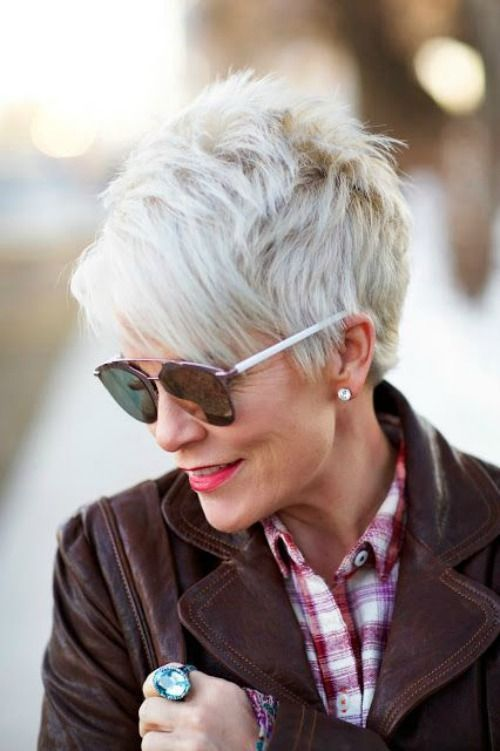 trendy pixie short haircut style for older women