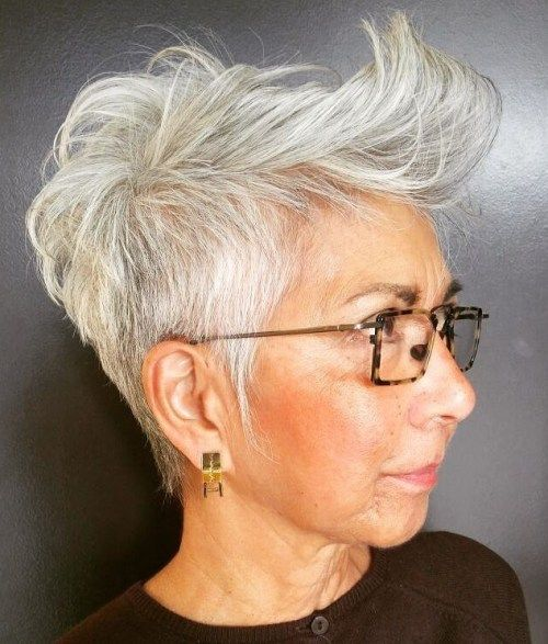 21 Short Hairstyles for Women with Grey Hair and Glasses (Updated 2021) trendy-short-spiky-haircut-for-older-women-with-grey-hair