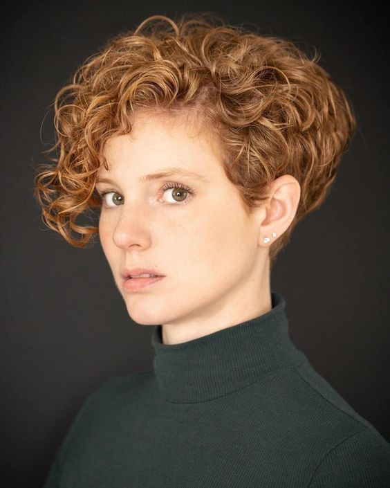 64 Awesome Short Curly Hairstyles for Women over 50 (Updated in 2021) Curly-pixie-cut-with-bangs