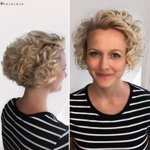 64 Awesome Short Curly Hairstyles for Women over 50 (Updated in 2021) Curly-stacked-wedge-hairstyle