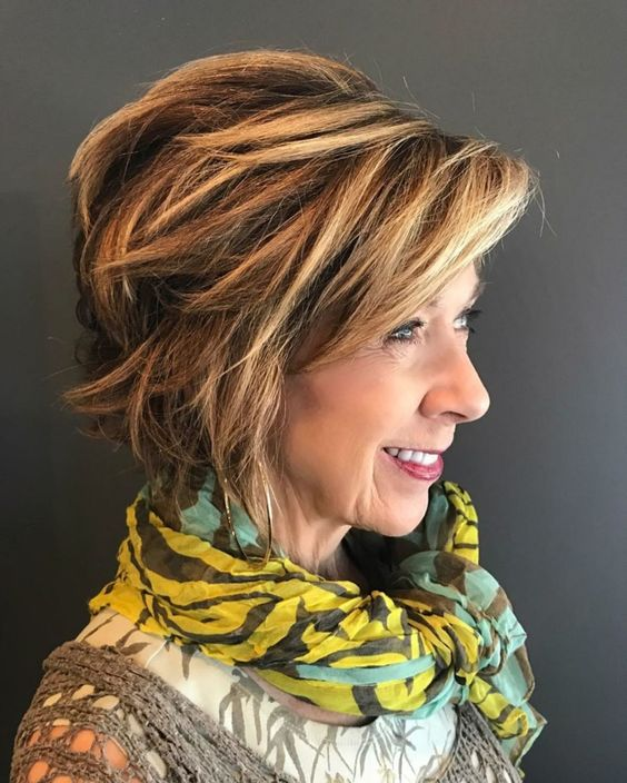 beautiful angled layered cut for older women with thick hair