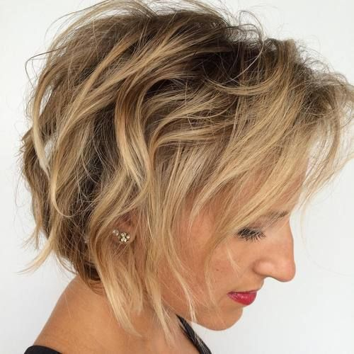 beautiful messy curly bob hairstyle that makes older women look younger