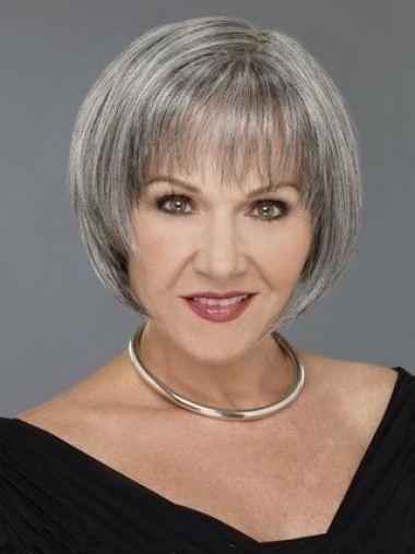 beautiful straight bob haircut with chopped layers for older women