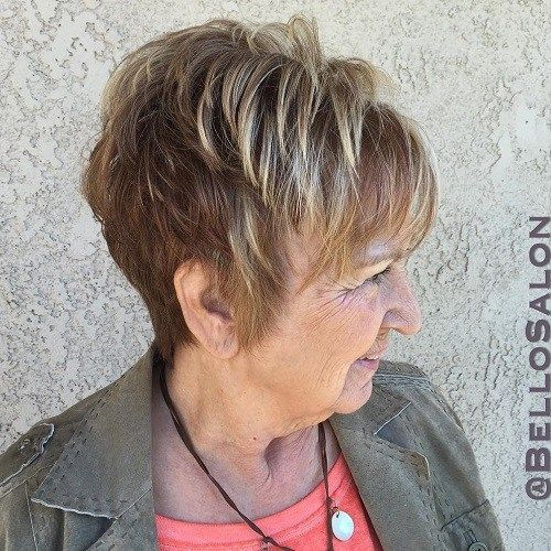 beautiful two toned choppy cut for women over 60