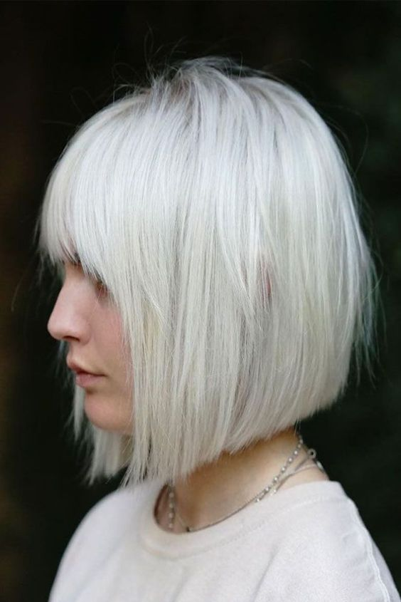 beautiful white colored bob haircut style for women