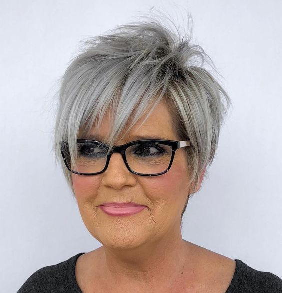 colored layered short choppy hairstyle for women over 60