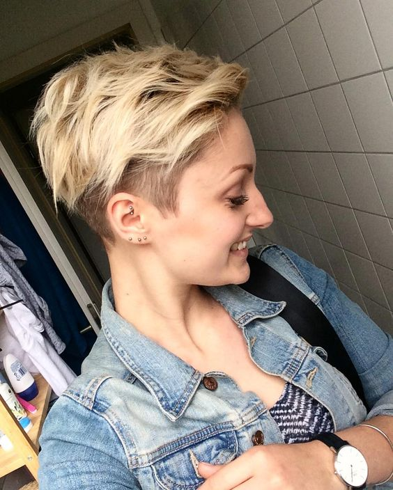 cute feathered pixie hairstyle with undercut
