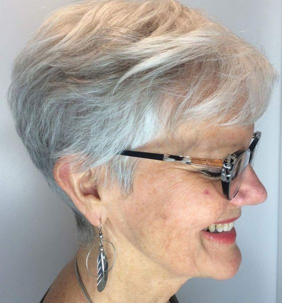 easy maintained angled layered cut for older women