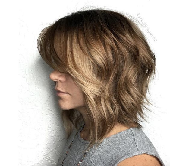 inspiring textured lob hairstyle for women with thick hair