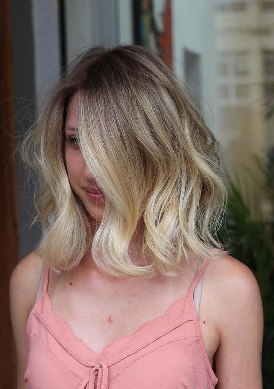 Medium Length Wavy Peek A Boo Bob Hairstyle Short
