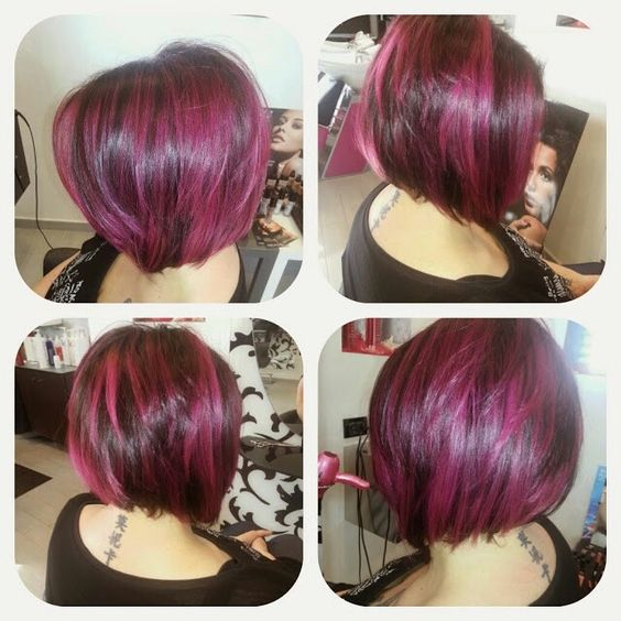 Wedding Hairstyle For Square Face: Pretty-two-toned-burgundy-pastel-haircut-ideas-for-women
