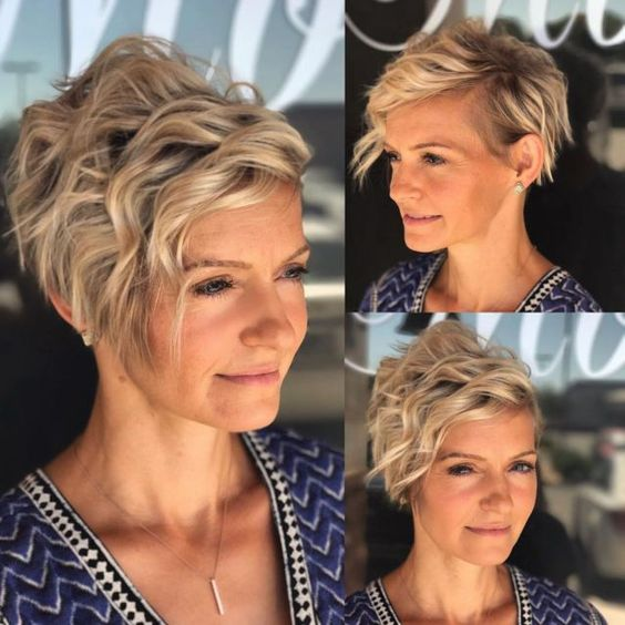 short wavy curly asymmetrical hairstyle for older women