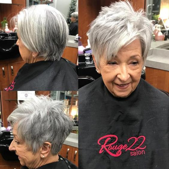 very short side swept choppy hairstyle for women over 60