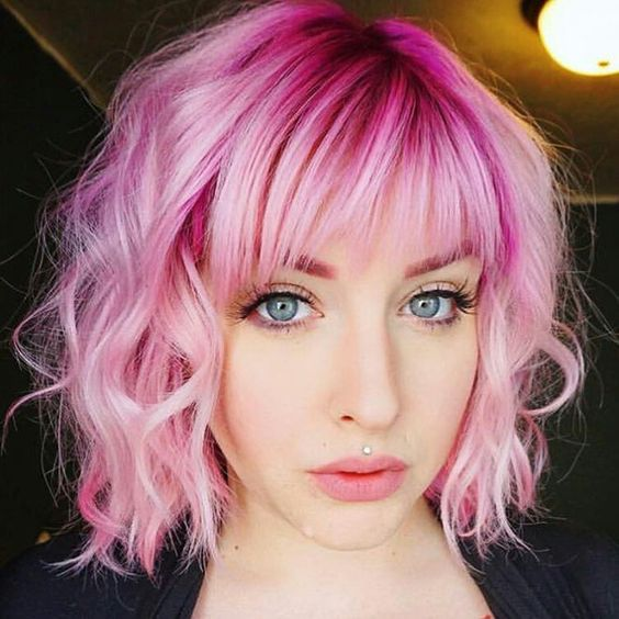 The Bright Pink Curls Style for Short Hair 4