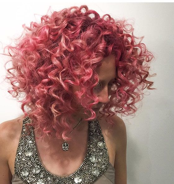 The Bright Pink Curls Style for Short Hair 5