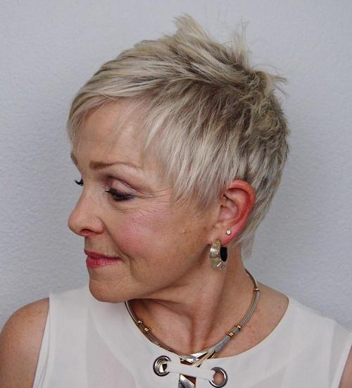 50 Gorgeous Wedge Haircuts for Women over 60 20-short-spiky-pixie-over-60