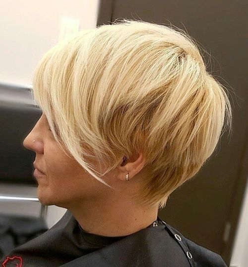 Blonde Stacked Pixie Hair Style 1