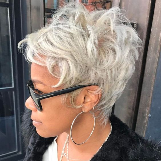 Grey Spiky Pixie Women Haircut 1
