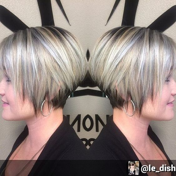 Silver Stacked Shaved Hair Style 4