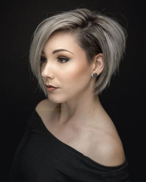Silver Stacked Shaved Hair Style 2