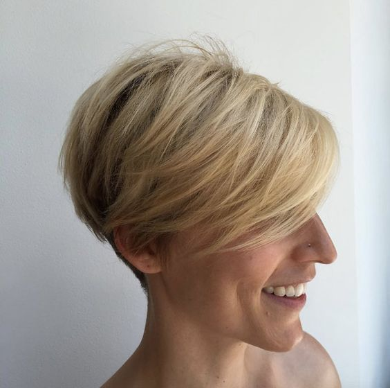 Blonde Stacked Pixie Hair Style 2