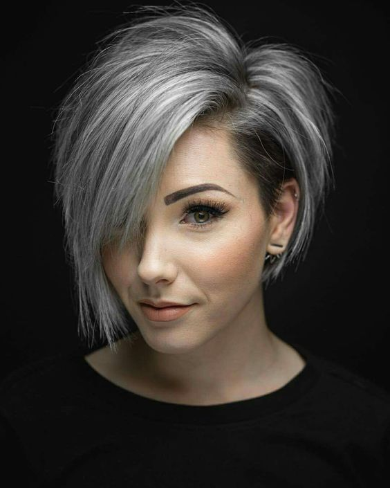 Silver Stacked Shaved Hair Style 3