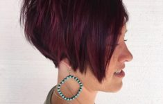 50 Gorgeous Wedge Haircuts for Women over 60 That You Can't Miss 9-short-layered-burgundy-bob-235x150
