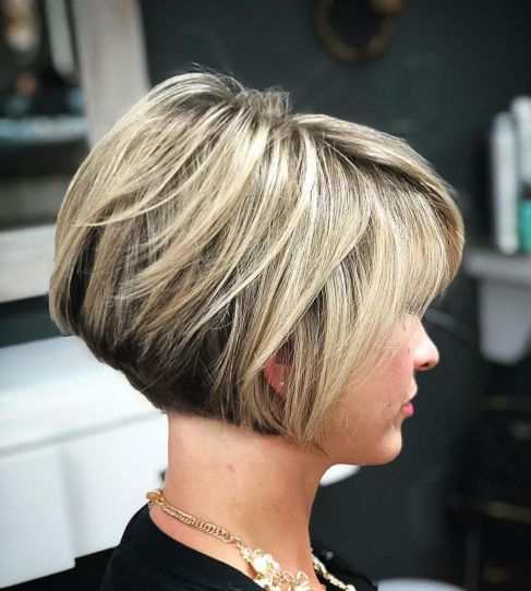 Feathered Stacked Bob Hairstyle 2