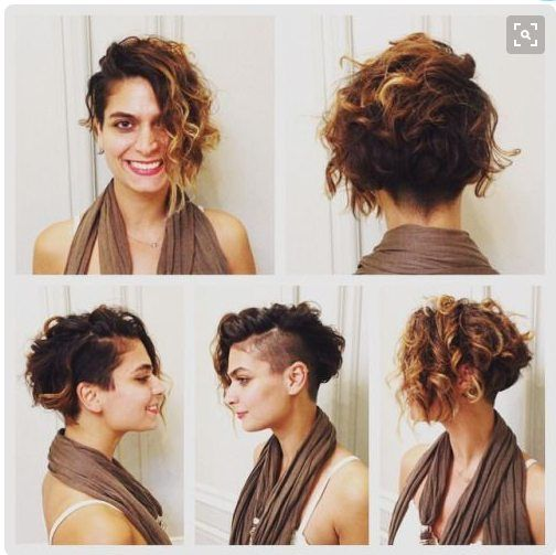 90 Gorgeous Short Curly Hairstyles for Women Over 50 (Updated 2021) Asymmetrical-bob-with-undercut