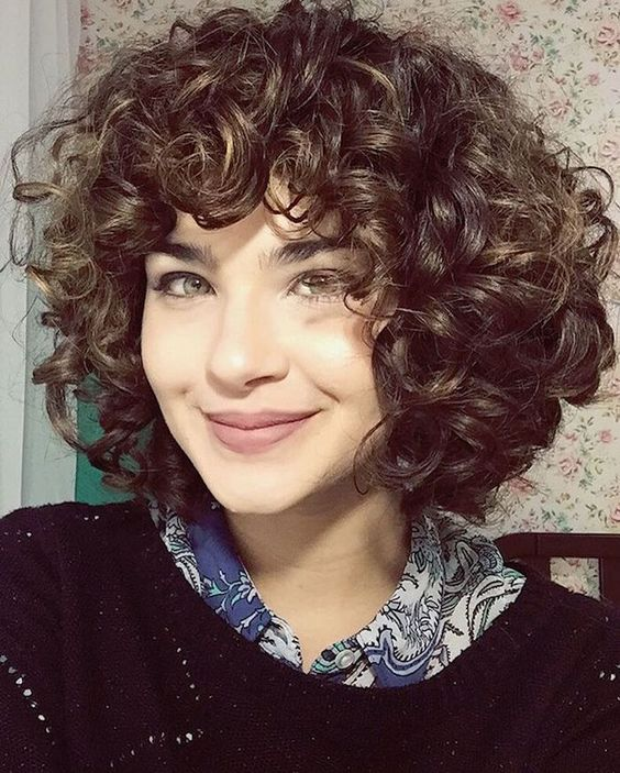 90 Gorgeous Short Curly Hairstyles for Women Over 50 (Updated 2021) Curved-bangs