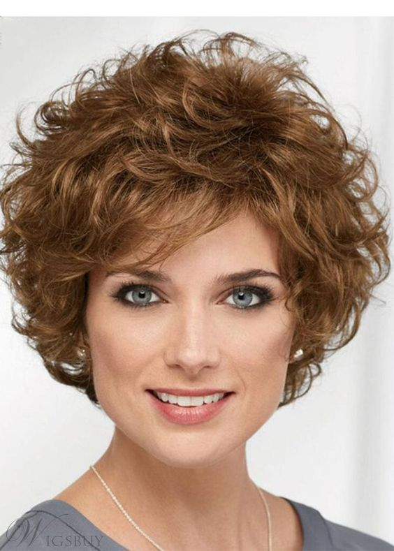 90 Gorgeous Short Curly Hairstyles for Women Over 50 (Updated 2021) Layered-soft-curls-pageboy
