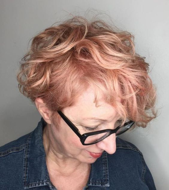 90 Gorgeous Short Curly Hairstyles for Women Over 50 (Updated 2021) Messy-pixie-with-strawberry-blonde