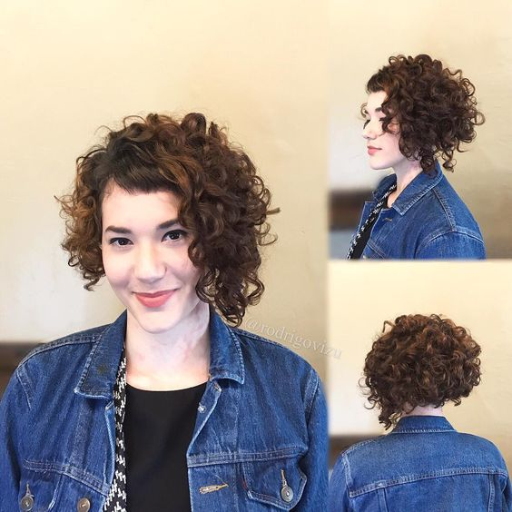 90 Gorgeous Short Curly Hairstyles for Women Over 50 (Updated 2021) Textured-asymmetric-bob-without-bangs