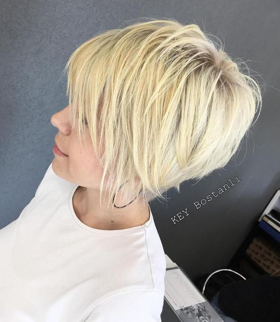 Blonde Stacked Pixie Hair Style 4