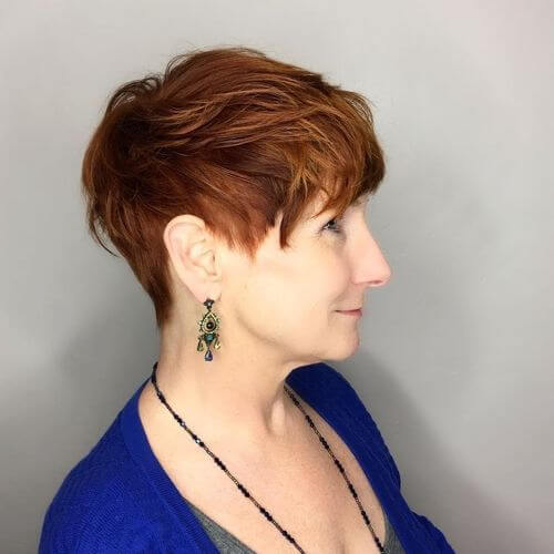 50 Gorgeous Wedge Haircuts for Women over 60 ginger-hair-pixie-cut