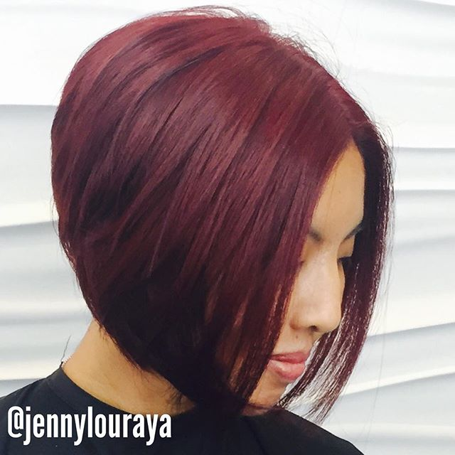 Maroon Wedge 5 layered-red-Inverted-Bob-Hairstyles