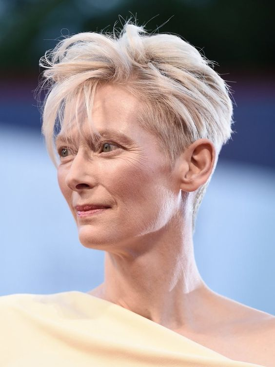 Super Edgy Pixie Hairstyle for Women Over 50 with Fine Hair 2