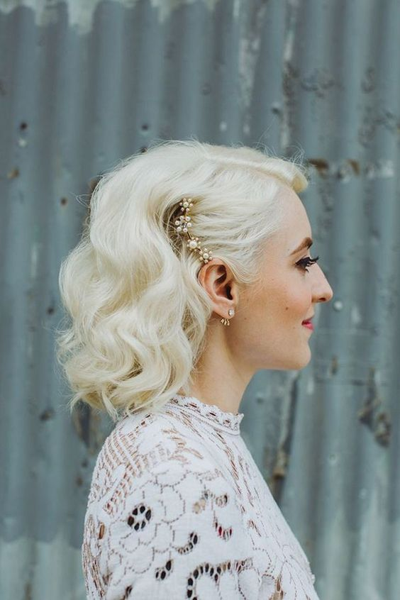 One Side Pinned Back Hairstyle for Wedding 1